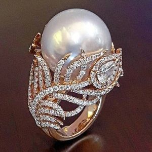 Pearl Leaf Rose Gold Ring bagues femme